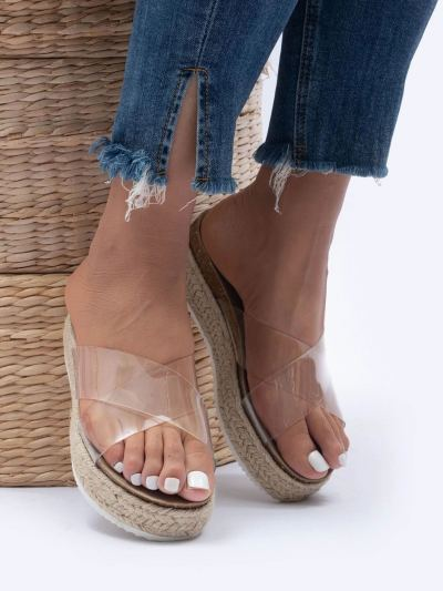 Flat Sandals and Slippers with Crossed Straps In Rhinestones