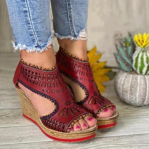 Women's Fashion Laser-Engraved Wedge Sandals