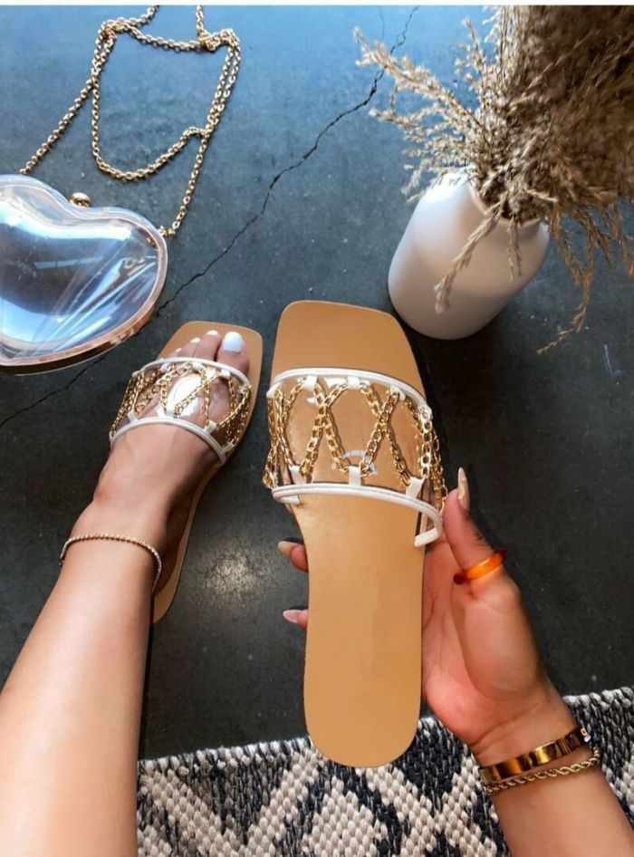 Daily Clear Strap Chain Slip-On Sandals