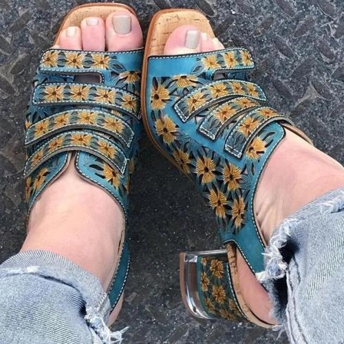 Women's Fashion Floral Print Velcro Square Heel Sandals