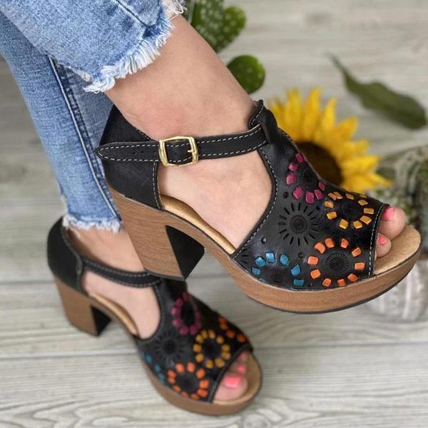 Women's Buckle Colorful Block Open Toe High Heels