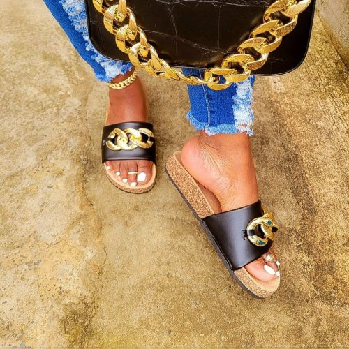 Daily Design Leather Gold Chain Sandals