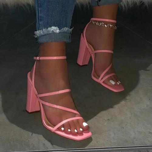 Large size square toe thick high heel sandals