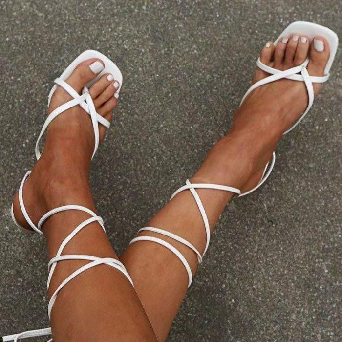 Ericdress Thong Lace-Up Stiletto Heel Professional Sandals
