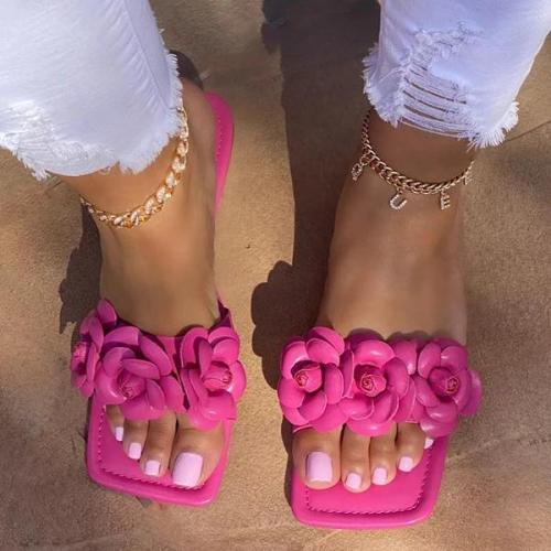 Daily Flower Squared Toe Slip On Sandals