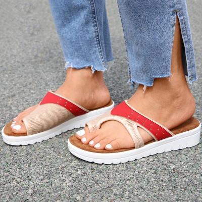 Women Casual Daily Pu Color-Blocking Toe Loop Flat Sandals