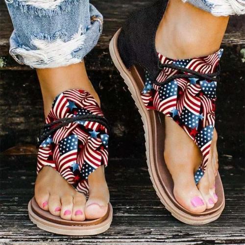 American Flag Star Striped Zipper Thong Flat Sandals