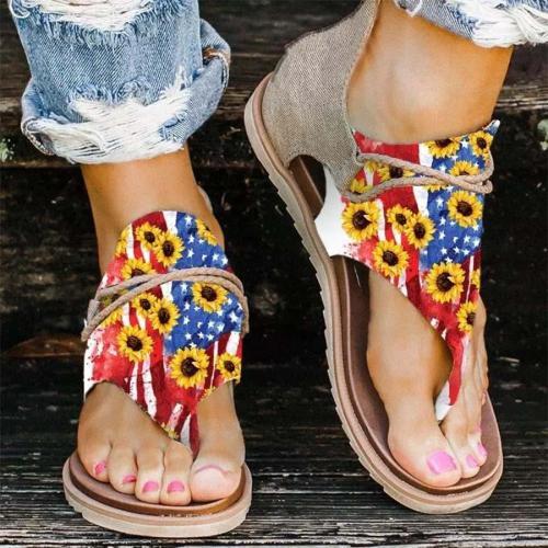 Sunflower American Flag Zipper Thong Flat Sandals