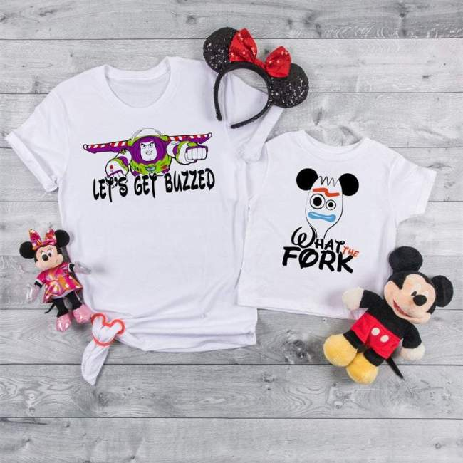 Disney Fun Shirts, Lets get buzzed, What the fork, Disney Funny Tees