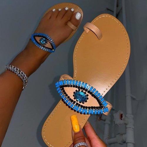 Slip-On Toe Stopper Ring Beaded Sandals