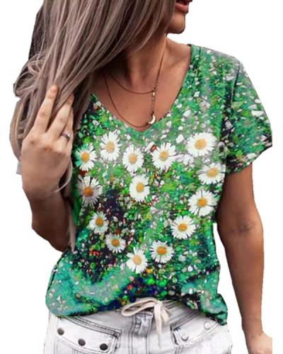 Floral Print V-neck T-shirt Tee