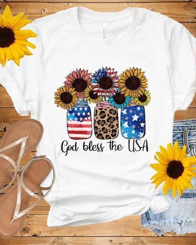 God Bless The USA  American Flag Sunflower T-shirt