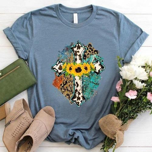 Faith cross sunflower leopard designer graphic tees