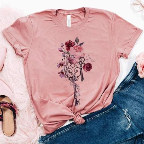 Rose key patterns casual floral graphic tees