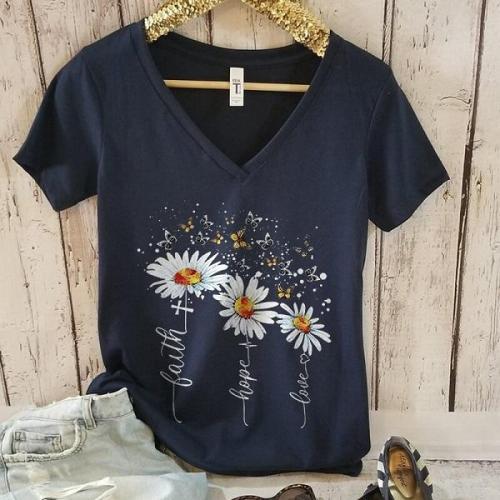 Butterfly daisy faith cross graphic tees