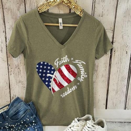America freedom faith basic graphic tees