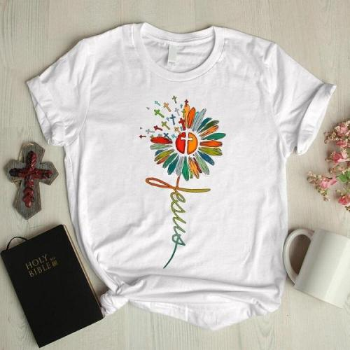 Color flower cross basic graphic tees