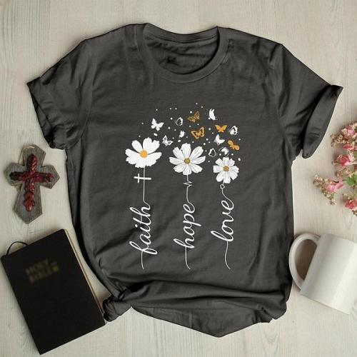 Floral butterfly round neck graphic tees