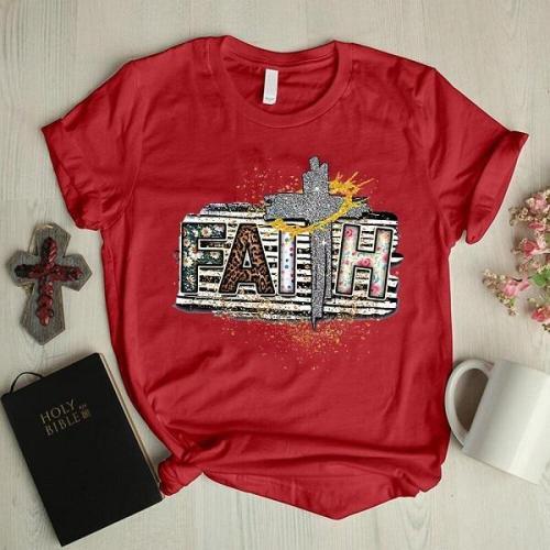 Faith leopard daisy designer graphic tees