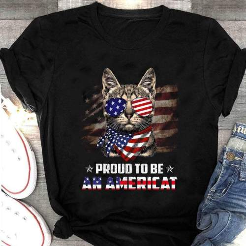 Proud To Be An Americat Funny Cat And American Flag T-Shirt, Cat Lovers Cat Owners Gift Shirt