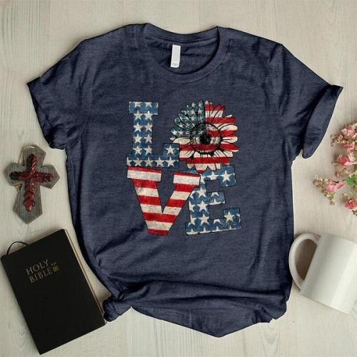 Love America faith daisy graphic tees