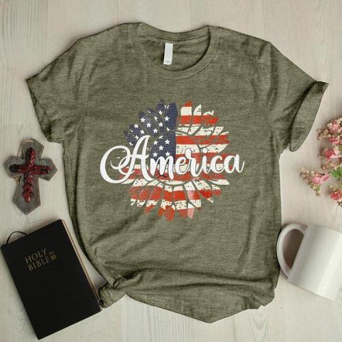 Stars and Stripes floral casual graphic tees