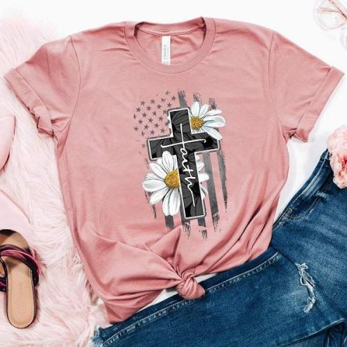 Cross Faith Print Loose Casual T-shirt