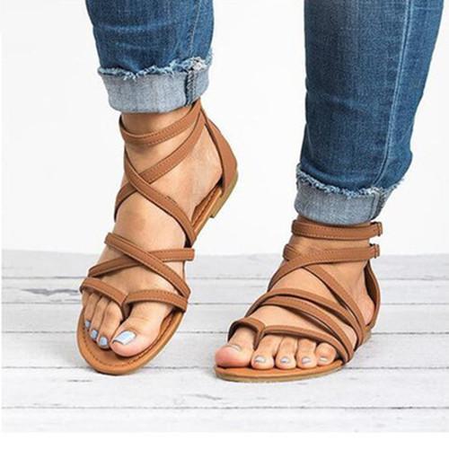 Women's Buckle Round Toe Flip-Flops Nubuck Flat Heel Sandals