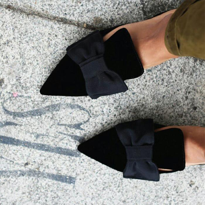 Women's Pointed Bow Flat Slippers