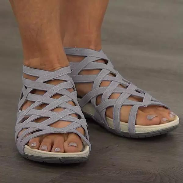 Round Toe Hollow-Out Breathable Flat Sandals
