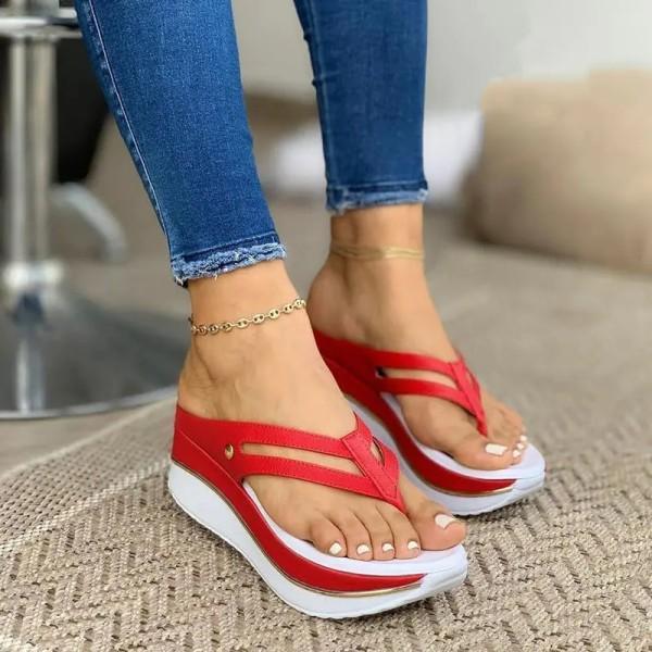 Womens Hollow Casual Wedge Heel Platform Flip Flops