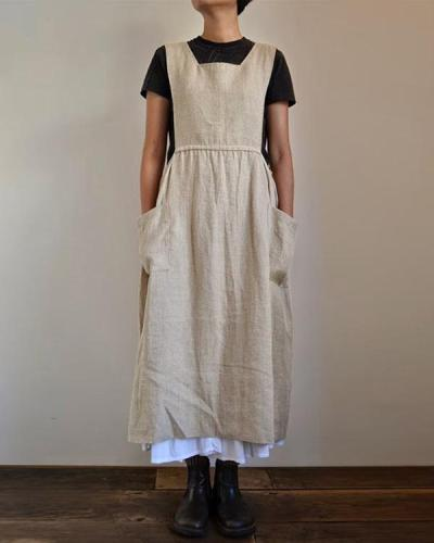 Linen Square Cross Apron Pinafore Dress