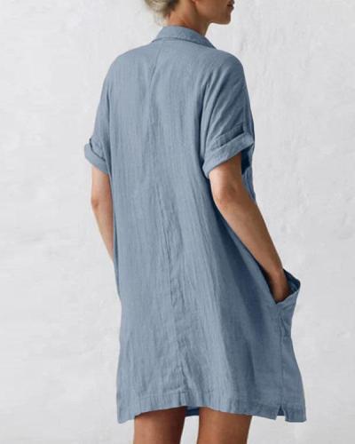 Women Plus Size Pockets Short Sleeve Button Linen Dresses
