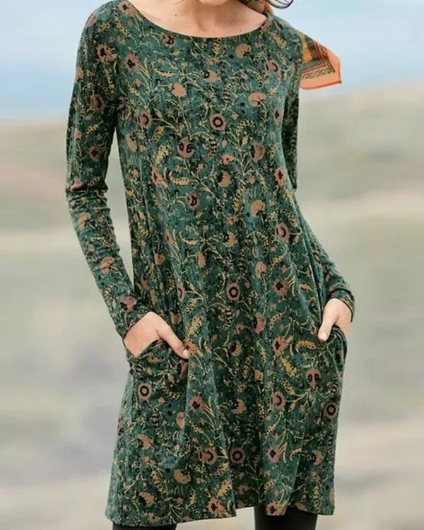 Casual Floral Tunic Round Neckline Shift Dress