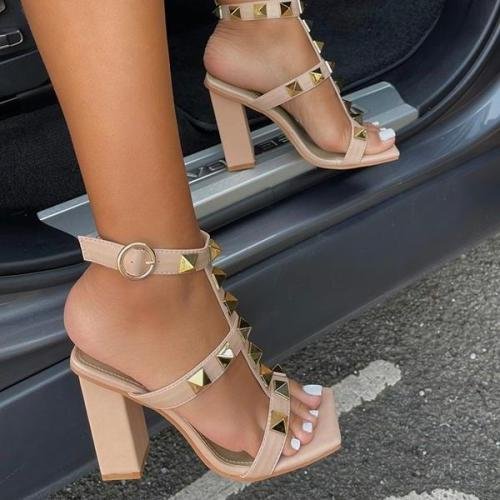 Studded Detail Caged Square Toe Block Heels
