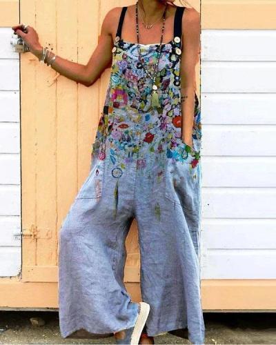 Gray Casual Cotton-Blend Floral One-Pieces Jumpsuit
