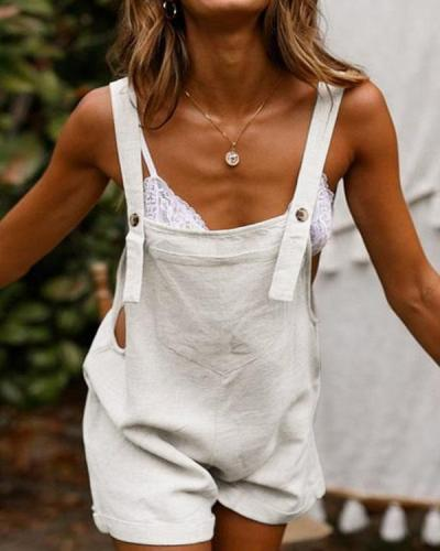 Front Pocket Sleeveless Casual Linen Rompers