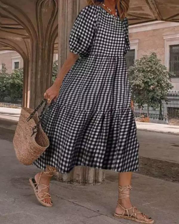Women's Casual Plaid Short Sleeve Dress