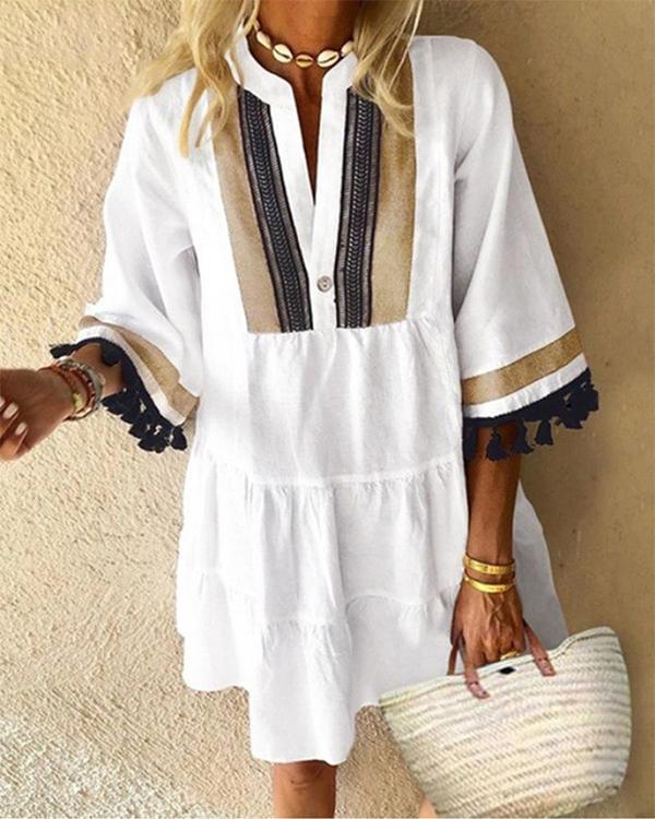 Contrast Color Tassel Casual Dress