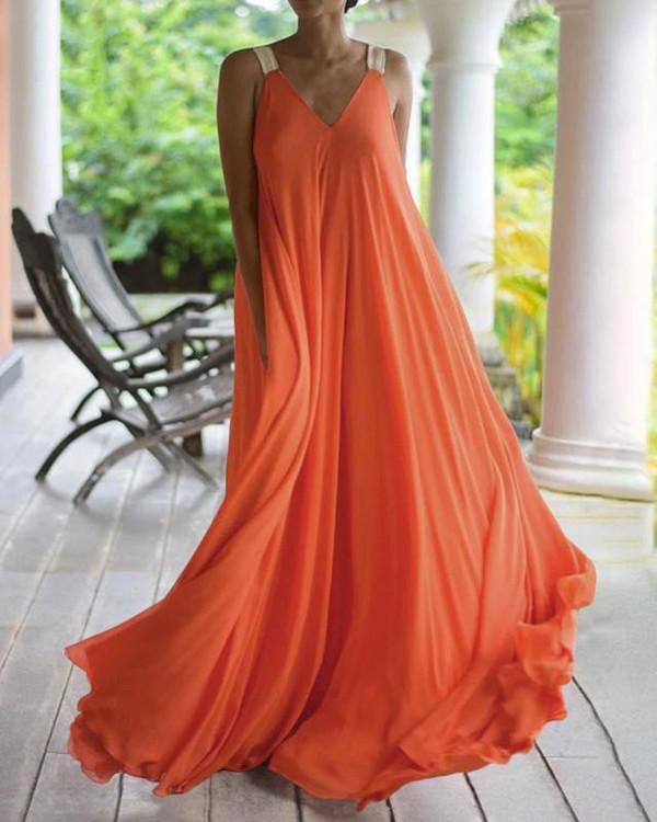 Fashion V Neck Vest Chiffon MaxiI Dresses