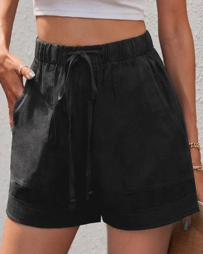 A-line Stretch Lace High Waist Shorts With Pleated Pockets