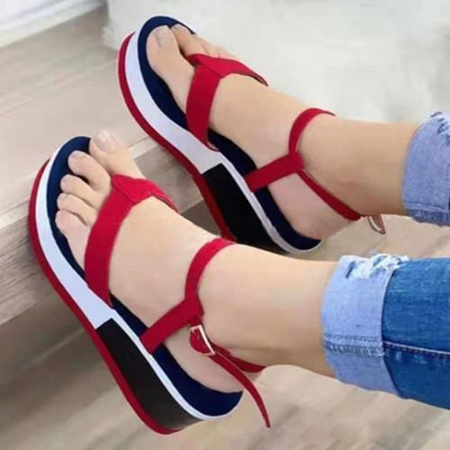 Women's Buckle Round Toe Flip-Flops Cloth Flat Heel Sandals
