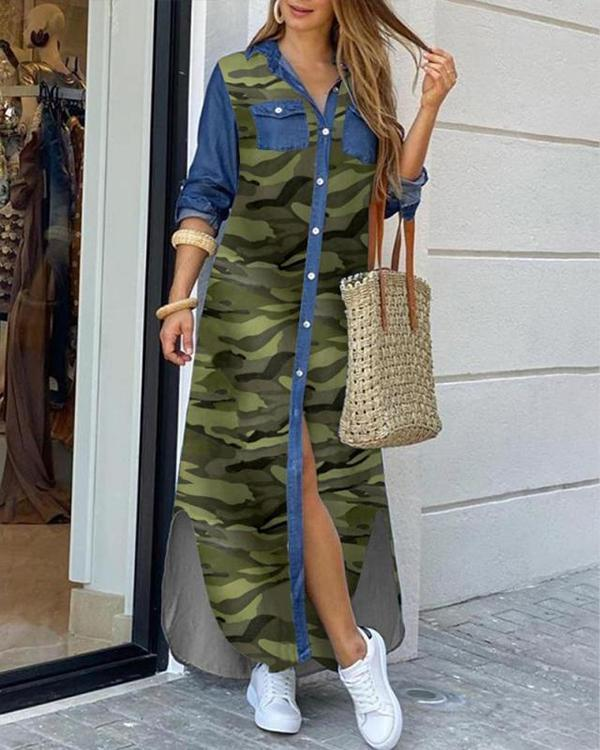 Fashion Letter Printed Casual Blouse Dress