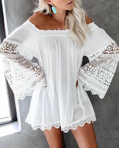 Bohemian Lace Crochet Flare Sleeve Beach Dress Cover-up