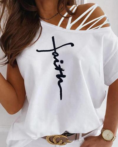 Cross Strap Letter Print Short Sleeve One Shoulder Fashion Blouses