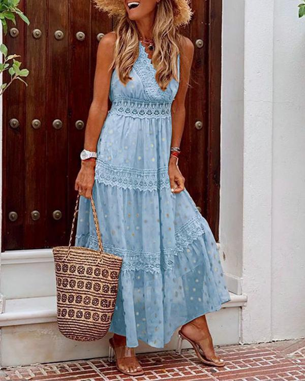 Sleeveless Lace A-line Casual/Vacation Maxi Dresses