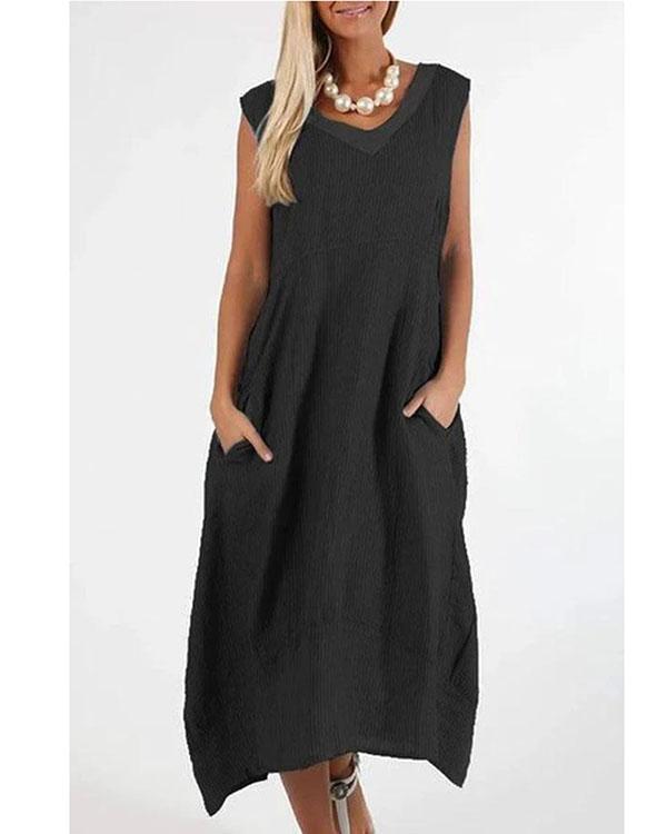 Striped Print Paneled V-neck Sleeveless Vintage Midi Dress