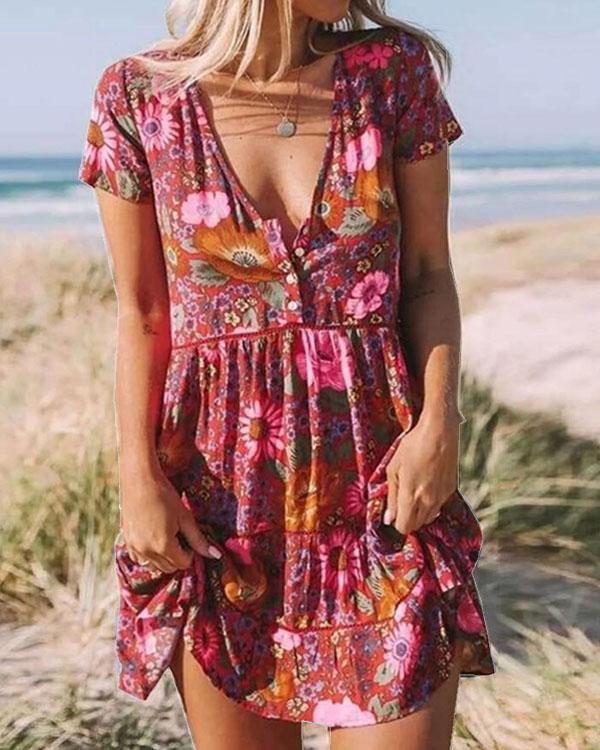Bohemian Button V Neck Ruffle Mini Dress