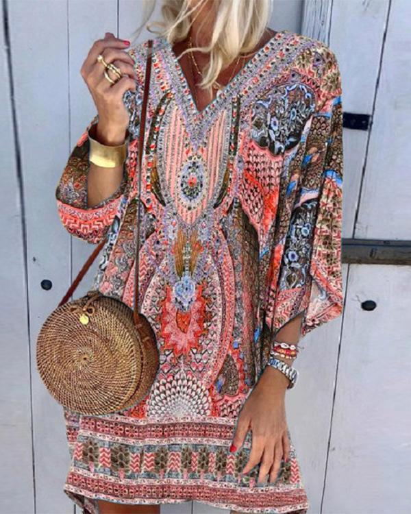 Boho Printed Casual Dress