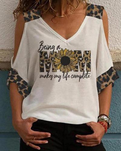 Women's T-shirts Leopard Letter Print Cold Shoulder T-shirt